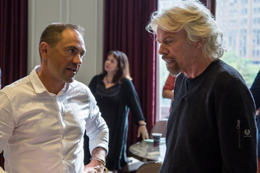 Seachange founder Rob Love and Richard Branson in Detroit